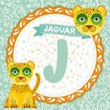 Les animaux J d'ABC est jaguar L'alphabet anglais des enfants Vecteur illustration stock