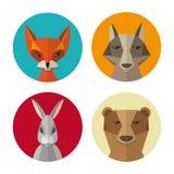 Les animaux lapin, renard, loup de forêt, soutiennent l'icône plate de vecteur de conception Image libre de droits