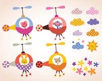Les animaux mignons dans des enfants d'hélicoptères conçoivent l'ensemble d'éléments illustration de vecteur