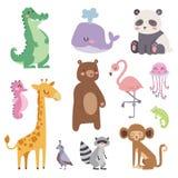 Les animaux mignons de bande dessinée de zoo ont isolé la faune drôle apprennent la jungle mammifère de langue mignonne et de saf illustration de vecteur