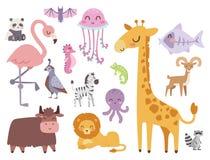 Les animaux mignons de bande dessinée de zoo ont isolé la faune drôle apprennent la jungle mammifère de langue mignonne et de saf illustration stock