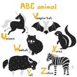 Les animaux mignons de Scandi ont placé l'alphabet d'ABC, ensemble pour des éléments d'ABC d'enfants dans le style scandinave illustration stock
