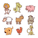 Les animaux ont placé l'icône, illustration de vecteur Image stock