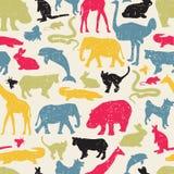 Les animaux silhouettent le modèle sans couture. Image stock