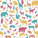 Les animaux silhouettent le modèle sans couture Image stock