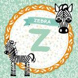 Les animaux Z d'ABC est zèbre L'alphabet anglais des enfants Photos libres de droits