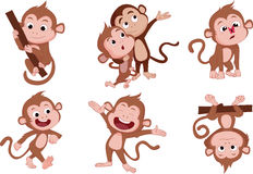 Les années du singe Ensemble de singe illustration stock