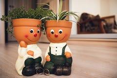 Les anneaux d'or de mariage se tiennent sur le plancher près des pots de fleur Images libres de droits