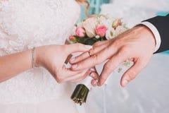 Les anneaux de mariage d'échange de couples Photo libre de droits