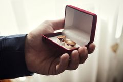 Les anneaux de mariage se situent dans une belle boîte de mariage, mariage, le ` s m de marié Image libre de droits