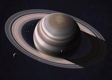 Les anneaux de Saturn sont brillants avec la lumière du soleil éléments Photographie stock
