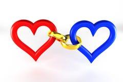 Les anneaux relient le coeur Photographie stock libre de droits