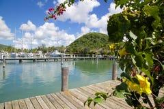 Les Antilles, les Caraïbe, Antigua, St Mary, Jolly Harbour, port Image libre de droits