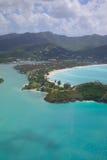 Les Antilles, les Caraïbe, Antigua, vue au-dessus de Jolly Harbour Images stock