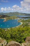 Les Antilles, les Caraïbe, Antigua, vue de port anglais de Shirley Heights photos stock