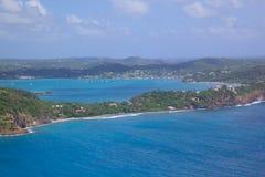 Les Antilles, les Caraïbe, Antigua, vue de port de Falmouth Image libre de droits