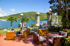 Les Antilles, les Caraïbe, l'Antigua, chantier de construction navale du Nelson, la maison de bateau et le grenier de voile Images stock