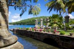 Les Antilles, les Caraïbe, l'Antigua, chantier de construction navale du Nelson, la maison de bateau et le grenier de voile Images libres de droits