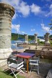 Les Antilles, les Caraïbe, l'Antigua, chantier de construction navale du Nelson, la maison de bateau et le grenier de voile Photographie stock libre de droits