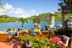 Les Antilles, les Caraïbe, l'Antigua, chantier de construction navale du Nelson, la maison de bateau et le grenier de voile Photos stock