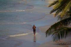 Les Antilles, les Caraïbe, l'Antigua, la longue baie et le coureur sur la plage Image libre de droits