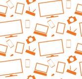Les appareils électroménagers et l'électronique oranges marquent sur tablette le smartphone de TV Photographie stock