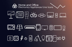 Les appareils de l'électronique de maison et de bureau amincissent de belles icônes modernes Photographie stock
