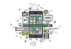 Les apps mobiles développent la ligne illustration de style illustration de vecteur