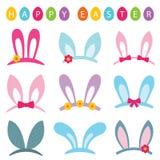 Les appui verticaux de cabine de photo de Pâques ont placé des oreilles de lapin illustration de vecteur