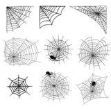 Les araignées et la toile d'araignée silhouettent le filet fantasmagorique de nature de Halloween d'élément de vecteur de toile d illustration libre de droits