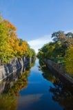 Les arbres d'automne se sont reflétés dans l'eau Image libre de droits