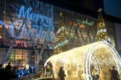 Les arbres de lumière et de Noël décorent beau Noël et la nouvelle année Photographie stock libre de droits