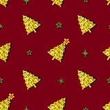 Les arbres et les étoiles de Noël sont sur le fond rouge illustration stock