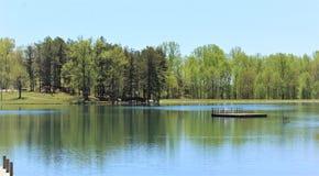 Les arbres ont moulé des réflexions profondes sur le lac image stock