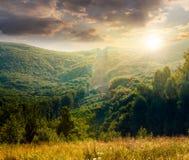 Les arbres s'approchent de la vallée en montagnes au coucher du soleil photo stock