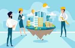 Les architectes de groupe créent et des projets d'ingénierie de ville Travail d'équipe des personnages de dessin animé