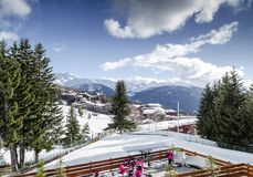Les arcs french alps ski resort and mountains in france Royalty Free Stock Photos