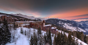 Les Arcs sunrise. A beautiful sunrise over The French ski resort of Les Arcs stock photography