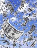 Les argents mous de teneur différente en dollar tombent avec le ciel Photographie stock libre de droits