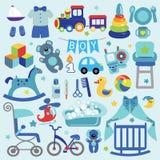 Les articles de bébé garçon ont placé la collection Graphismes de fête de naissance Photographie stock libre de droits