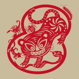 les arts de Papier-coupe du tigre repousse le ` toxique de créatures du ` cinq Images libres de droits