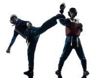 Les arts martiaux de vietvodao de karaté équipent la silhouette de femme photos libres de droits