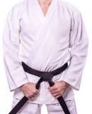 Les arts martiaux maîtrisent avec la ceinture noire images stock