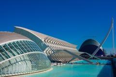 les arts mettent en boîte la ville de l hemisferic les Palau que les sciences de reina voient Sofia Architectes Santiago Calatrav photographie stock