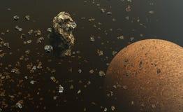 Les asteroïdes ou les météorites mettent en place dans l'espace extra-atmosphérique, formation des planètes Photographie stock