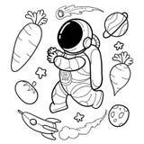 Les astronautes végétaux sont tirés par la main drôle illustration libre de droits