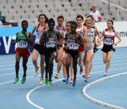 Les athlètes concurrencent dans les 1500 mètres finaux Photo stock