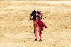 Les attaques de taureau exaspérées le toréador L'Espagne 2017 07 25 2017 Vinaros Corrida monumental de toros Corrida espagnole Images stock