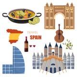 Les attractions principales de l'Espagne ont placé le vecteur de collection Fruits de mer traditionnels de Paella, architectures  illustration libre de droits