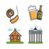 Les attributs d'Allemand ont placé avec des types affiche de bâtiment de vecteur illustration libre de droits